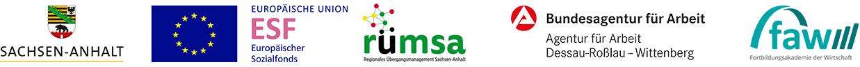 Logos von ESF, RÜMSA, Agentur für Arbeit und FAW