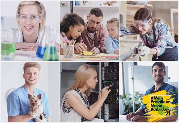 Vorstellung von verschiedenen Berufen, Tierarzt, Verwaltunsfachangestellten, Tischlerin, Erzieher, Chemikantin, Informatikerin